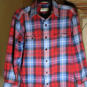 ORVIS PLAID BRUSHED FLANNEL SHIRT ~ L ~ POCKETS ~